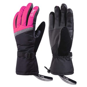 MCTi Waterproof Windproof Womens Winter Ski Snow Snowboard 3M Thinsulate Warm Touchscreen Gloves with Elastic Gloves Holder Keeper Wristband