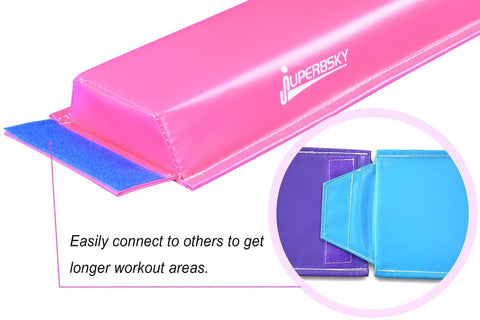 Juperbsky Balance Beam for Kid's Gymnastics Practice - Easy to Store, Non Slip with Velcro in Bottom, 4ft long - Floor GYM Equipment for Teens Hone Skills at Home
