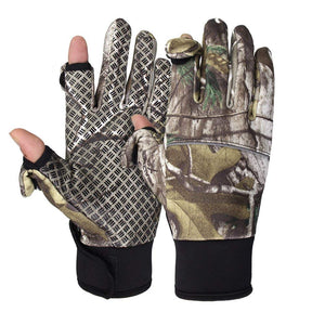 WATERFLY Fishing Gloves, Anti-Slip PU Palm Windproof Sports Gloves with 2 Cut Fingers for Fishing Hunting Riding Cycling