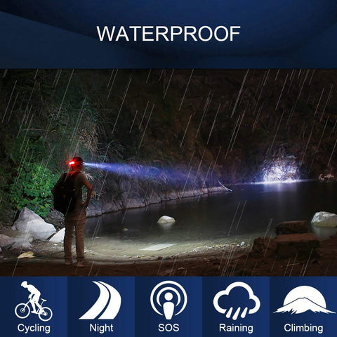 Wsky LED Headlamp, [New Version]Brightest and Best 7 Modes Headlight Flashlight, Hands-free and Waterproof Led Headlamp for Camping, Biking, Fishing, Hunting(Batteries Not Included)