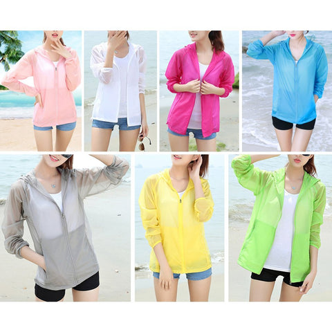 Eastlion 7 Colors Anti-UV Women Sunscreen Clothes Ultra-thin Hooded Outdoor Sports Windbreaker