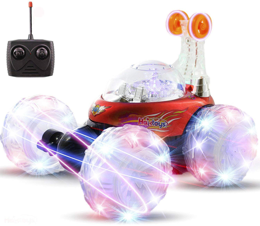 Haktoys HAK101 Red Upgraded Invincible Tornado Acrobatic Stunt RC Car, Radio-Controlled Rechargeable Vehicle with Flashing LED Lights & Music Switch, Safe & Durable, Gift for Kids, Boys & Girls