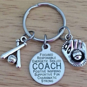 Baseball Coach keychain, Softball Coach keychain, Baseball keychain, Softball keychain, baseball charm keychain, softball charm keychain, Coach keychain, Baseball key ring, softball key ring