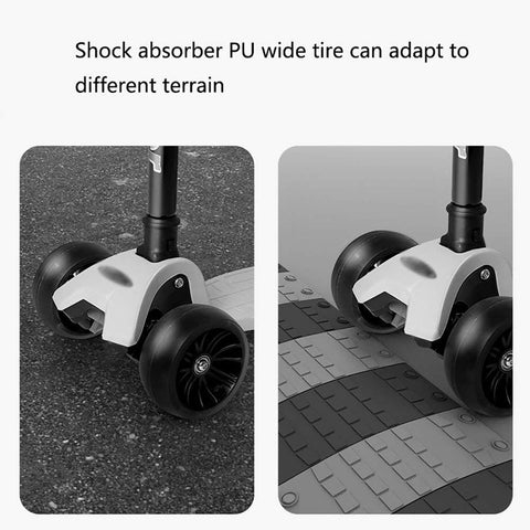 Tricycle Scooter 4 Wheeler Children Foldable Flash Led Wheels Sliding Block 2-3-6-12 Years Old Kids Pedal Ride-On Car Skateboards