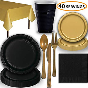 Disposable Party Supplies, Serves 40 - Black and Gold - Large and Small Paper Plates, 12 oz Plastic Cups, heavyweight Cutlery, Napkins, and Tablecloths. Full Two-Tone Tableware Set