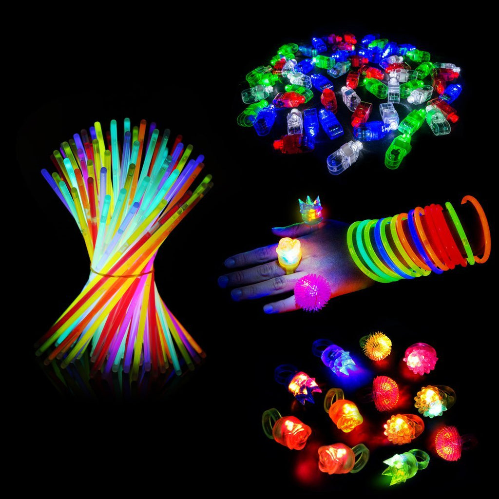 "148 Pcs LED Glow in the Dark Party Favors Pack. 8"" Glow Sticks Bracelet Mixed Colors Tube of 100, 36 LED Finger Lights, 12 LED Flashing Bumpy Rings for Party Birthday Celebration"