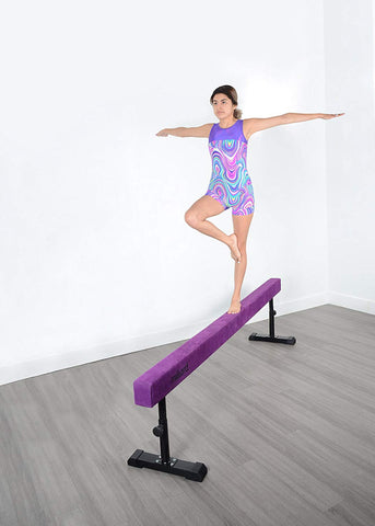Milliard Adjustable Balance Beam, High and Low [8 Feet] Floor Beam Suede Gymnastics Competition Style Training with Legs