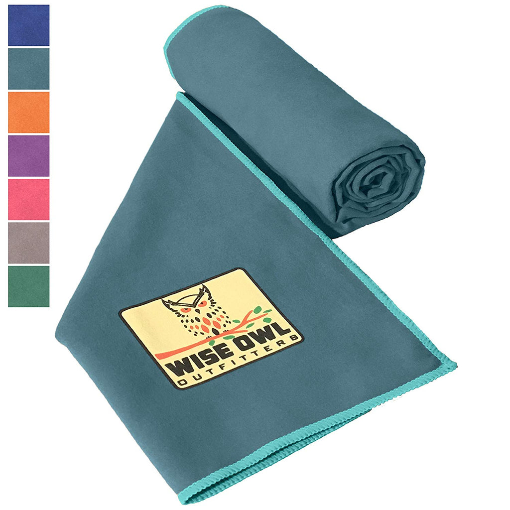 Wise Owl Outfitters Camping Towel by Ultra Soft Compact Quick Dry Microfiber - Great for Fitness, Hiking, Yoga, Travel, Sports, Backpacking & The Gym - Free Bonus Hand Towel - Many Colors
