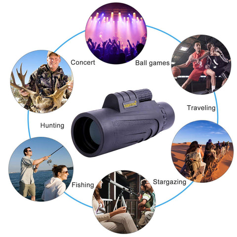 Holisouse 10x42 Monocular Compact Night Vision Telescope High Power Spotting Scope HD BAK4 Prism FMC with Phone Adapter Mount and Tripod for Adults Kids Outdoor Hunting Camping Fishing Traveling