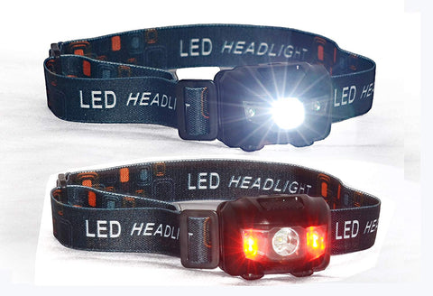 XELA Global Two High Quality Headlamps Super Bright Lightweight Water Dust & Shock Proof CREE LED Head Strap for Camping Hunting Fishing Hiking Cycling Jogging Dog Walking w/ 6 AAA Batteries Included.