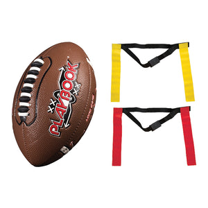 Franklin Sports Playbook Youth Flag Football Set - Includes Mini Playbook Football and Two Flag Sets of 5