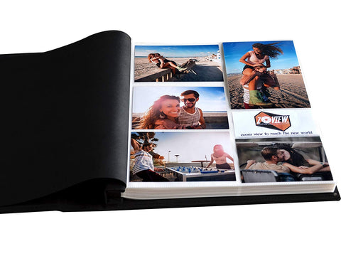 ZOVIEW 600 Horizontal and Vertical Pockets Photo Album, Leather Cover, slots album, Sewn Bonded Leather Albums, memo Album, Holds 3.5x5, 4x6, 5x7 photos (Black, Large)
