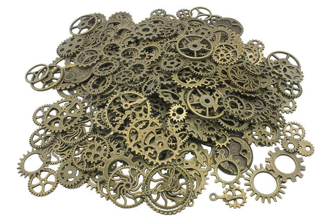 Steampunk Gears and Cogs, Suta 110 Grams Approx 70 pcs Steampunk Gears Assortment for Crafting and Jewelry Making Accessory - Bronze
