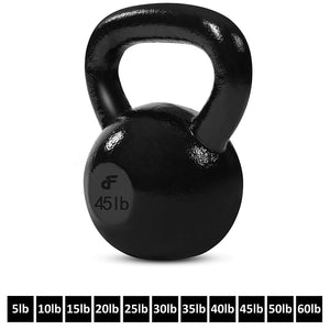 Day 1 Fitness Kettlebell Weights - Cast Iron Kettlebells For Ballistic Exercise, Core Strength, Functional Fitness, and Weight Training Set - Free Weight, Equipment, Accessories - 5 Lbs