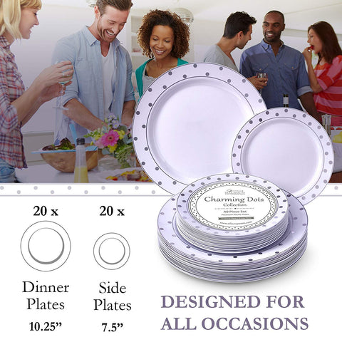 PARTY DISPOSABLE 40 PC DINNERWARE SET | 20 Dinner Plates and 20 Salad or Dessert Plates | Heavyweight Plastic Dishes | Elegant Fine China Look | for Upscale Wedding and Dining (Dots– White/Silver)