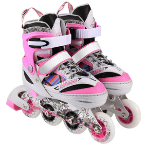 Kids Inline Skates Set, Adjustable Inline Skate Rollerblades for Boys Girls Size 1 2 3 4 Outdoor Skating Birthday Gift