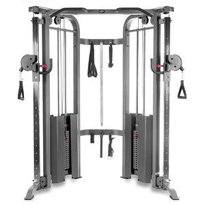 XMark Functional Trainer Cable Machine with Dual 200 lb Weight Stacks, 19 Adjustments, and Accessory Package, XM-7626 (Gray or White)
