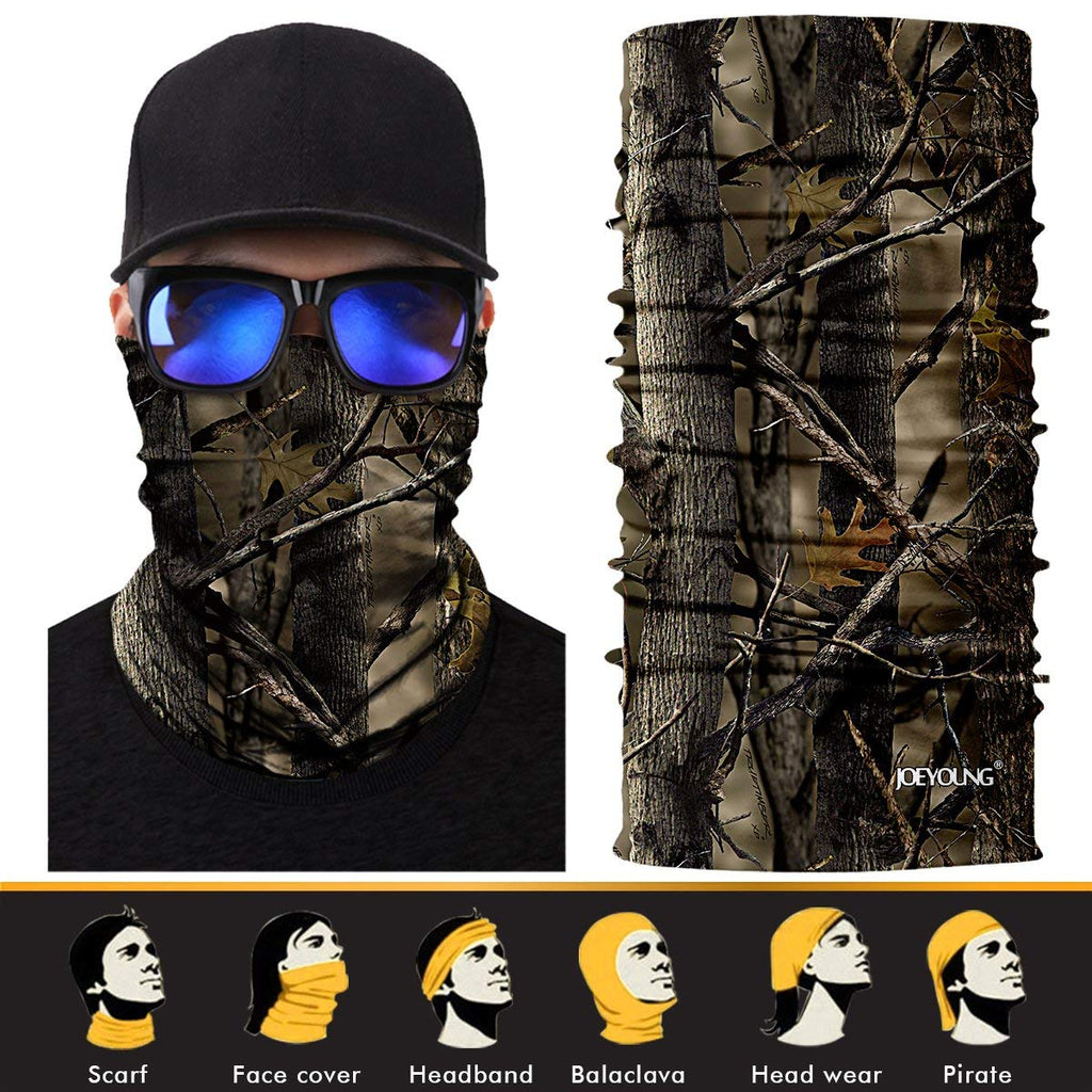 JOEYOUNG 3D Face Sun Mask, Neck Gaiter, Headwear, Magic Scarf, Balaclava, Bandana, Headband for Fishing, Hunting, Yard work, Running, Motorcycling, UV Protection, Great for Men & Women