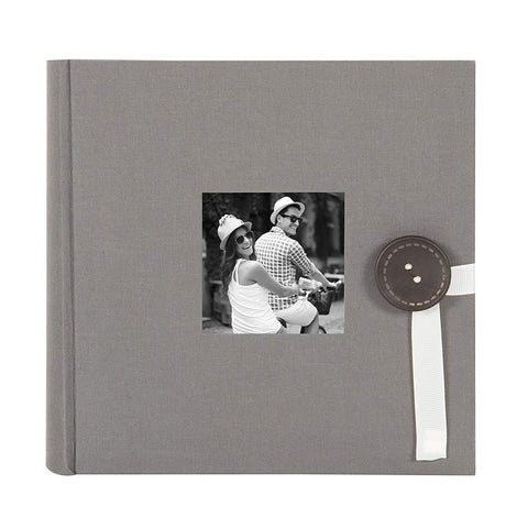DesignOvation Kim Fabric Photo Albums with Ribbon and Button Closures, Holds 200 4x6 Photos, Set of 4, Gray