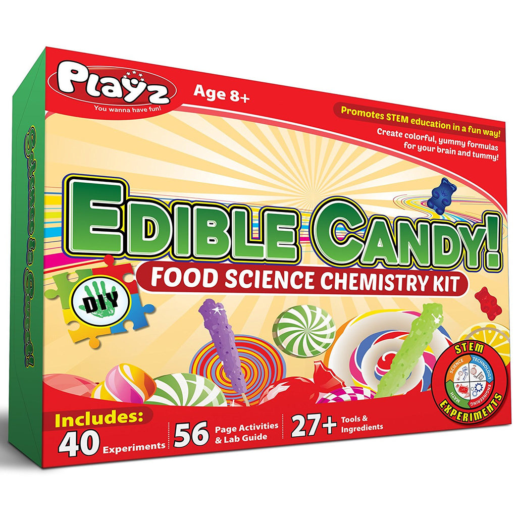Playz Edible Candy! Food Science STEM Chemistry Kit - 40+ DIY Make Your Own Chocolates and Candy Experiments for Boy, Girls, Teenagers, & Kids Ages 8+