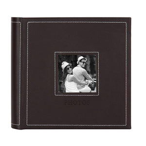 DesignOvation Debossed Faux Leather Photo Albums, Holds 200 4x6 Photos, Set of 4, Brown