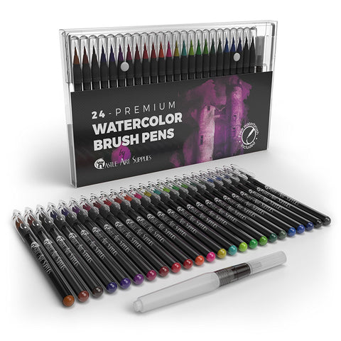Castle Art Supplies Watercolor Brush Pens Set of 24 - Vibrant Markers with Flexible Nylon Brush Tip for Coloring Books, Calligraphy, Drawing and Writing - Non Toxic - Includes Extra Water Brush Pen