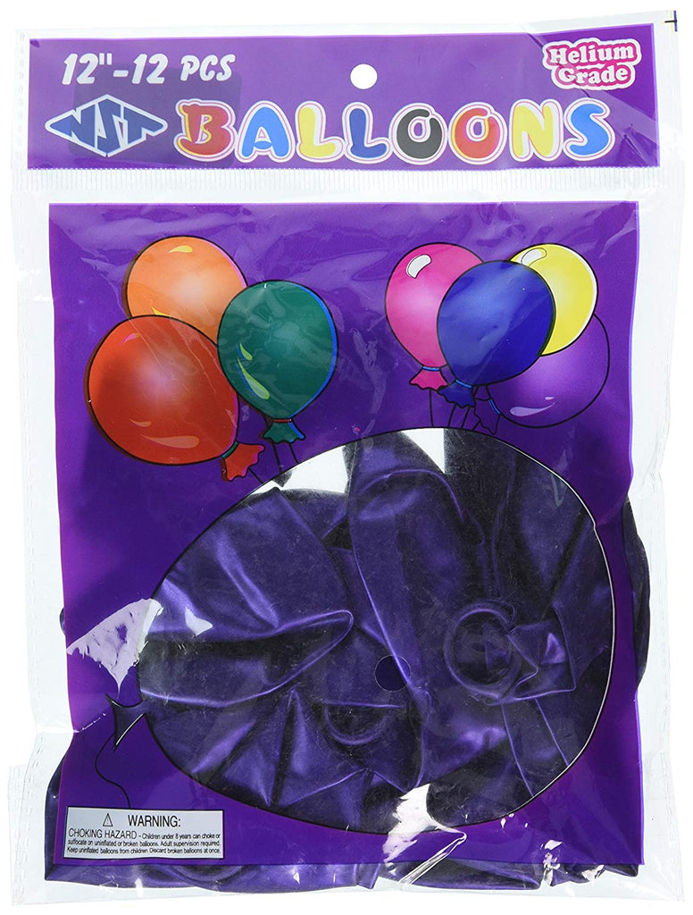 Homeford Premium Latex Balloons Plain Color, 12-Inch, Purple, 12-Pack