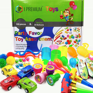 I Premium Party Favor Toy Assortment In Big 120 Pack. Party Favors For Kids. Birthday Party, Classroom Rewards, Carnival, Prizes, Pinata Filler, Bulk Toys, Treasure Box, Goodie Bag Fillers