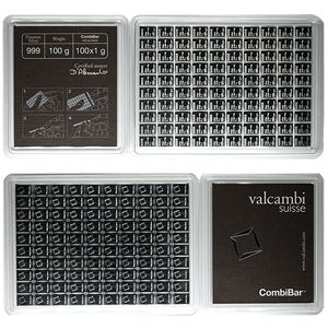 100 gram Silver Bars - Valcambi CombiBar Assorted Weight