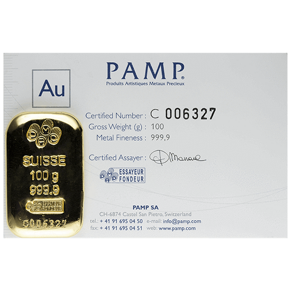 100 gram Pure Gold Bars - PAMP Suisse