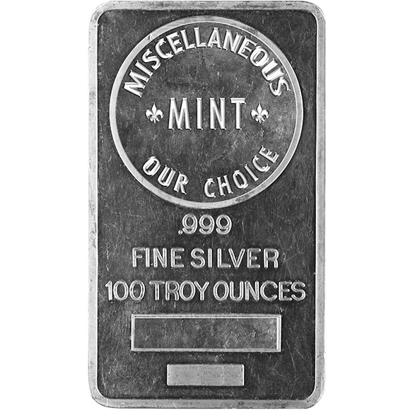 100 oz Silver Bars - Our Choice Generic Brand