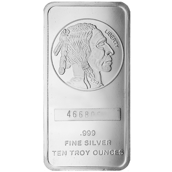 10 oz Silver Bars Buffalo Design