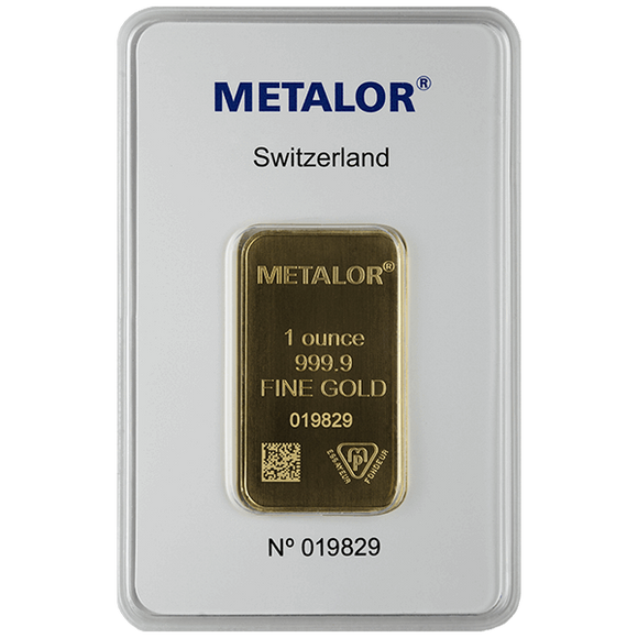 1 oz Pure Gold Bars LBMA-Approved Metalor