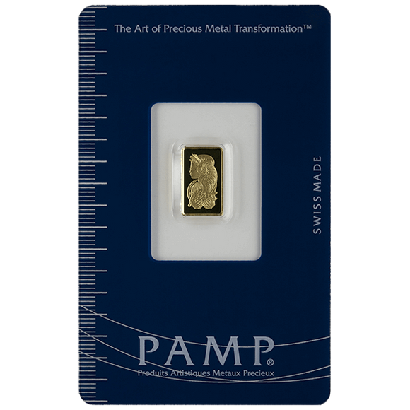 1 gram Pure Gold Bars - PAMP Suisse Lady Fortuna