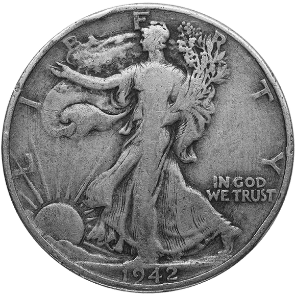90% Silver $1.00 Face Value U.S. Walking Liberty Half Dollar
