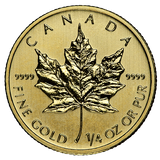 1/4 oz Gold Canadian Maple Leaf (In Plastic)