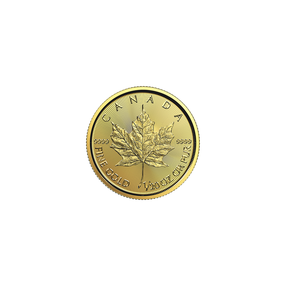 2018 1/20 oz Gold Canadian Maple Leaf Common Date