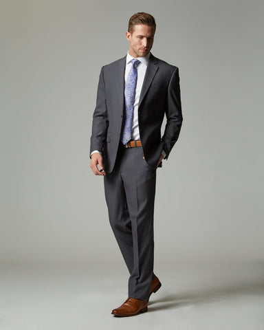 Medium Grey Tempo Stretch Slim Fit 1-Pant Suit