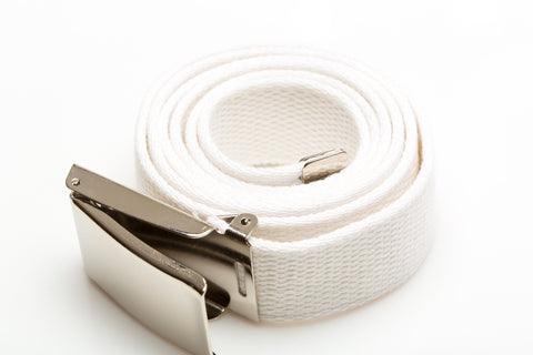 Men's Webbed White Temple Belt