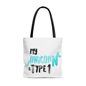 My Unicorn is Type 1 - AOP Tote Bag Aqua - PY
