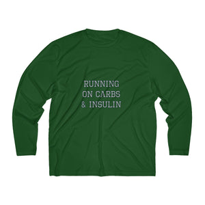Running on Carbs & Insulin - Men's Long Sleeve Moisture Absorbing Tee - PY