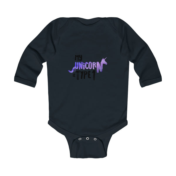 My Unicorn Is Type 1 - Infant Long Sleeve Bodysuit Onesie - PY