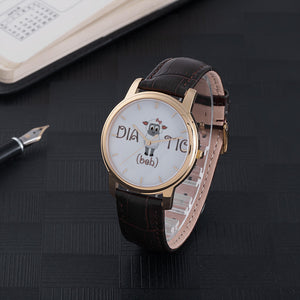 30 Meters Waterproof Quartz Fashion Watch With Brown Genuine Leather Band