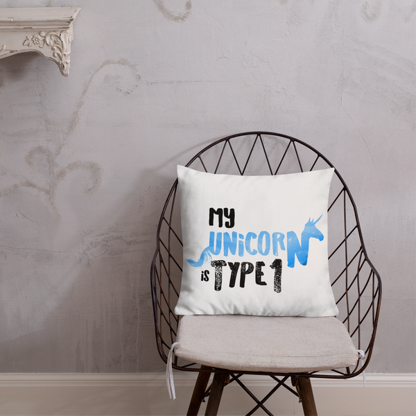 My Unicorn is Type 1 - Premium Pillow Blue - PF