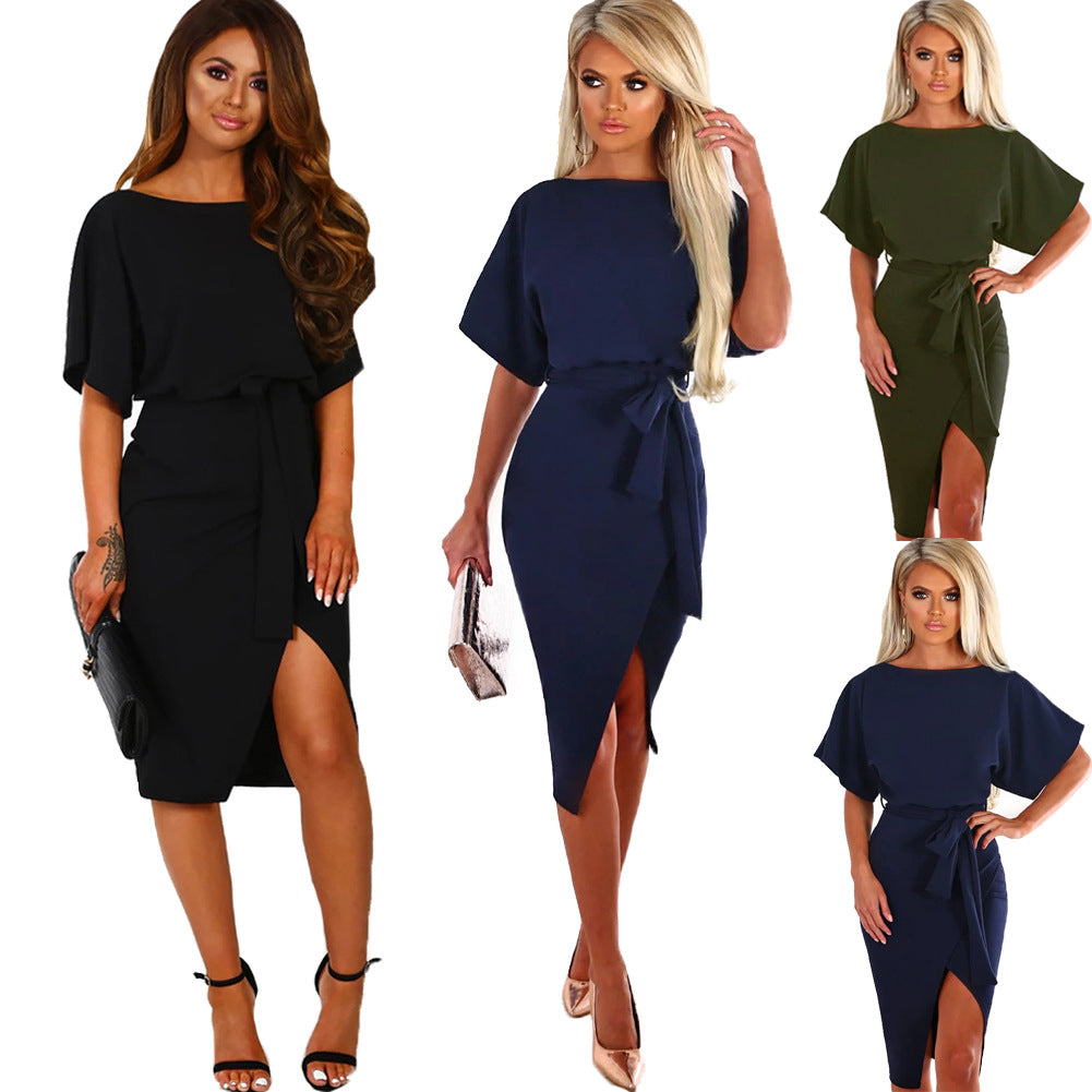 Came Here For Love Black Belted Wrap Front Midi Dress