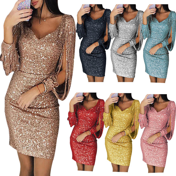 Shiny Slim Pack Hip Dress