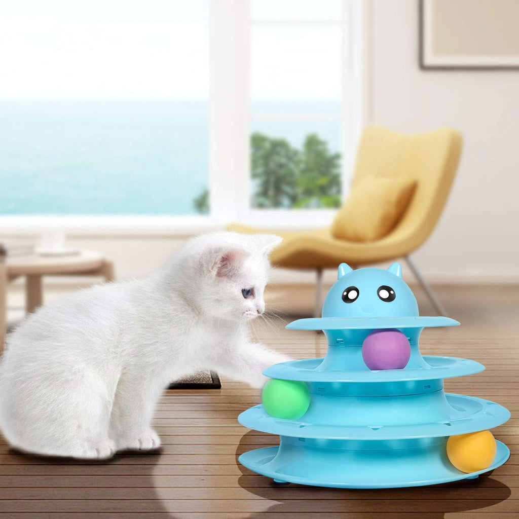 UPSKY Cat Toy Roller Cat Toys 3 Level Towers Tracks Roller with Three Colorful Ball Interactive Kitten Fun Mental Physical Exercise Puzzle Toys