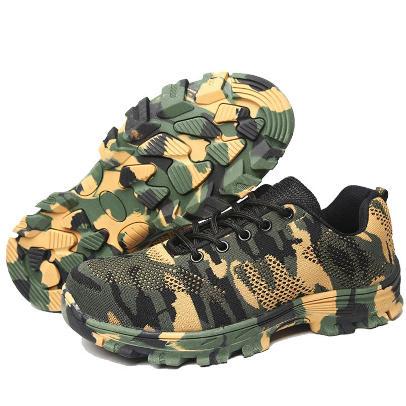 New Mens Outdoor Breathable Mesh Steel Toe Safety Shoes Army Boots Men Camouflage Military Industri