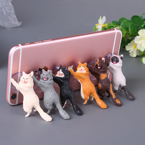 [Free Shopping] Adorable Happy Cat Phone Holder For Any Phone Type (6 Pack)