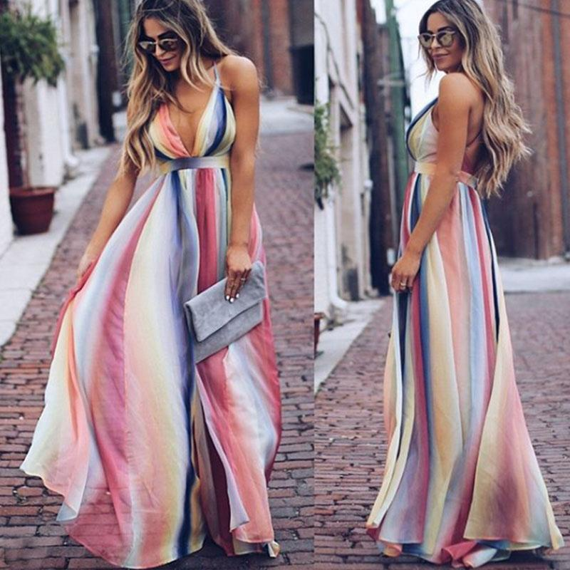 Chiffon Graphic Print Rainbow Even Clothing Collar Sleeveless Waist Bohemian Dress